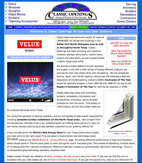 Screen Shot. Click to go to Classic Openings web site.